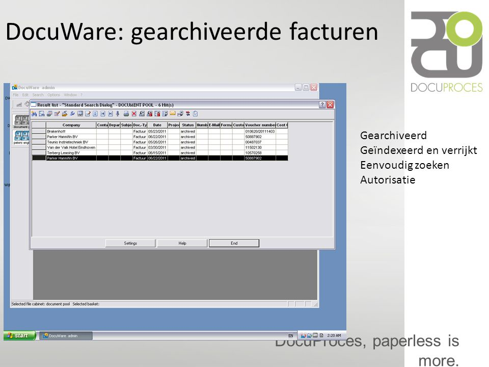 DocuWare: gearchiveerde facturen