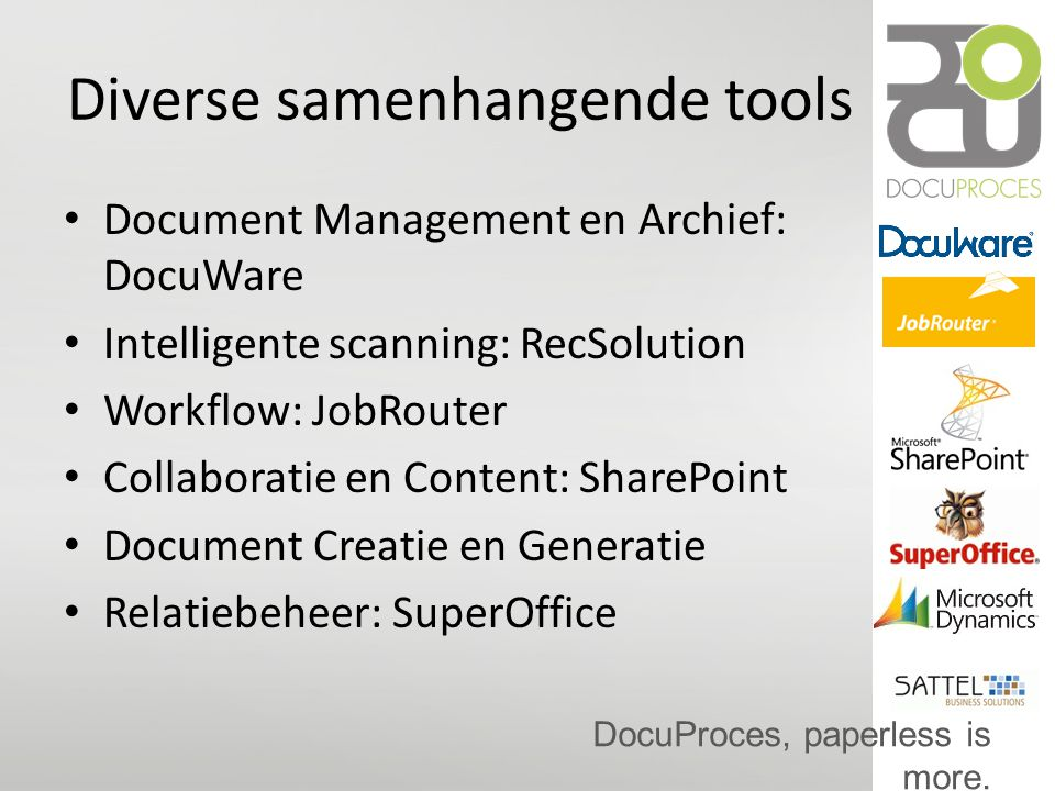 Diverse samenhangende tools