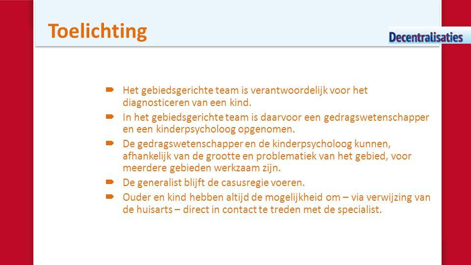 Toelichting Het gebiedsgerichte team is verantwoordelijk voor het diagnosticeren van een kind.