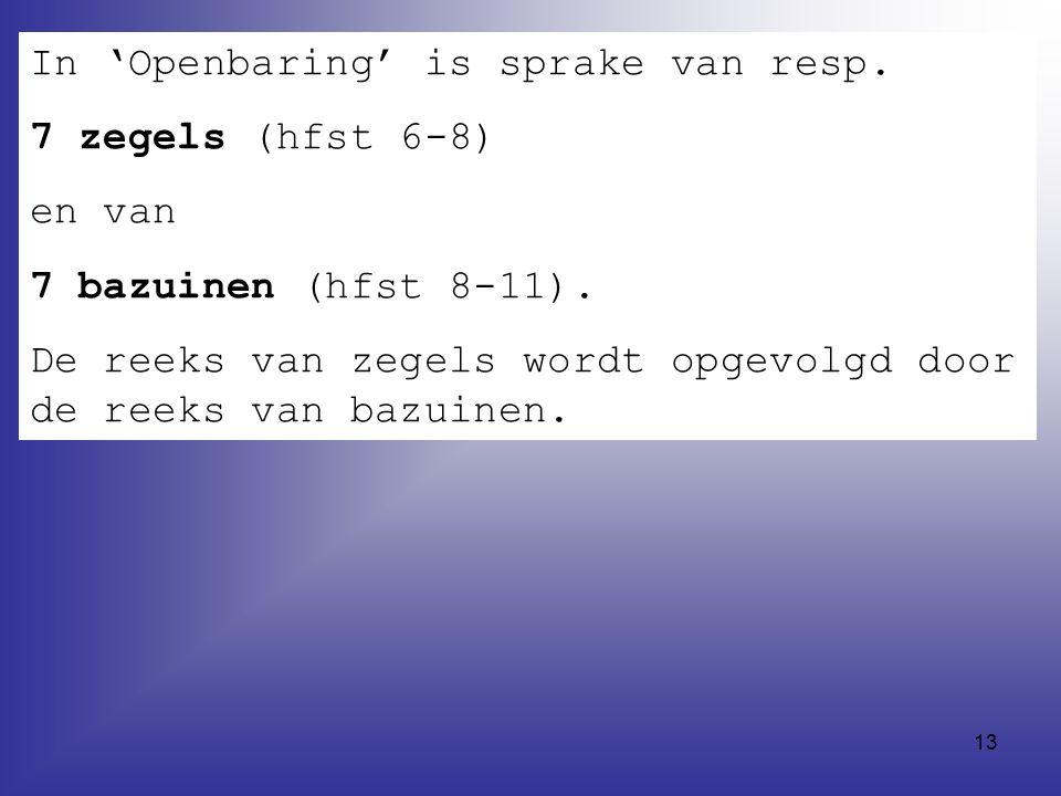 In 'Openbaring' is sprake van resp.