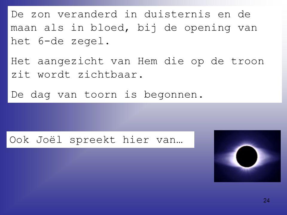 De zon veranderd in duisternis en de maan als in bloed, bij de opening van het 6-de zegel.