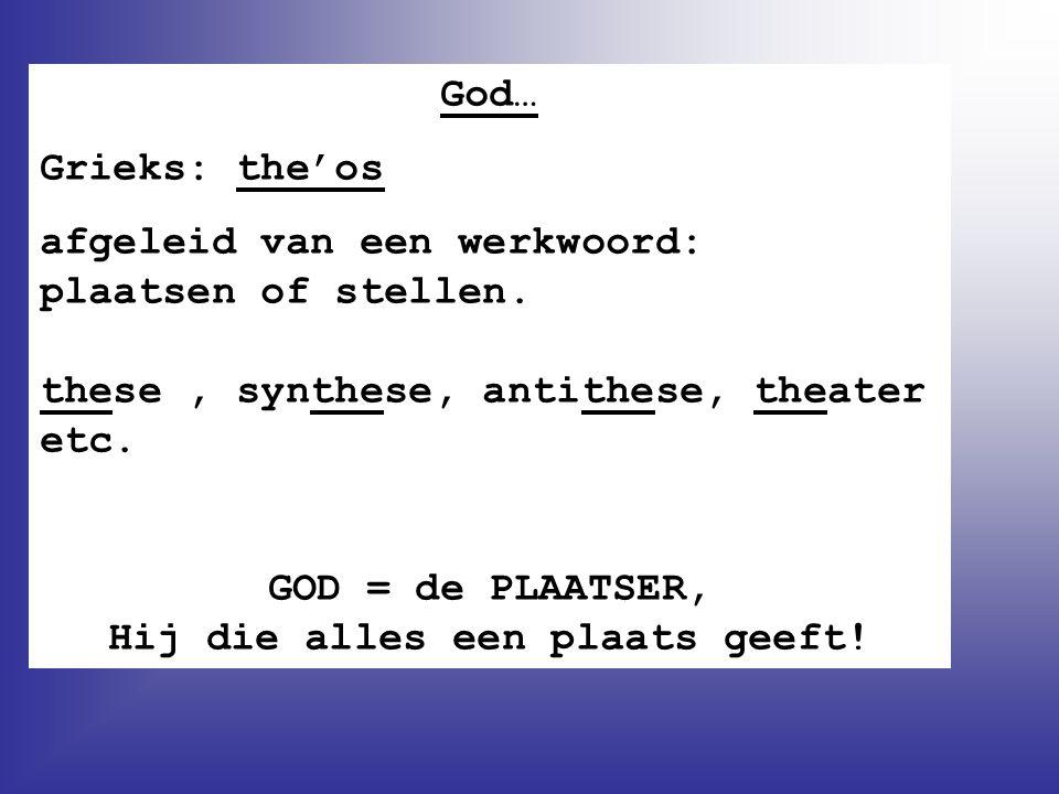 GOD = de PLAATSER, Hij die alles een plaats geeft!