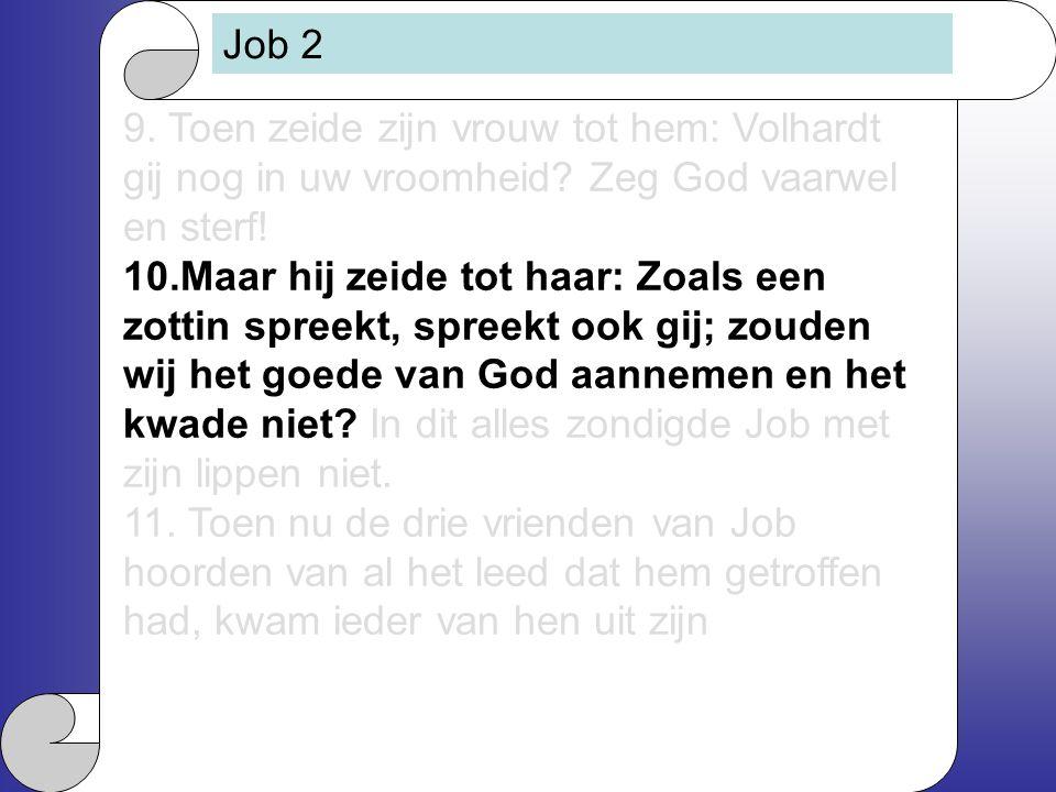 Job 2 9. Toen zeide zijn vrouw tot hem: Volhardt gij nog in uw vroomheid Zeg God vaarwel en sterf!