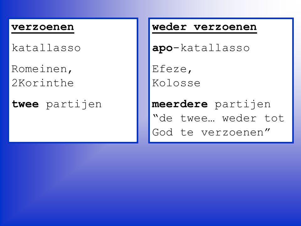 verzoenen katallasso. Romeinen, 2Korinthe. twee partijen. weder verzoenen. apo-katallasso. Efeze, Kolosse.