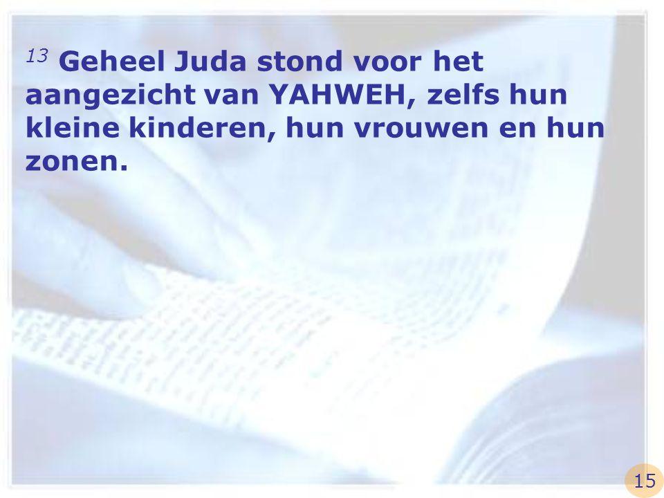 13 Geheel Juda stond voor het aangezicht van YAHWEH, zelfs hun kleine kinderen, hun vrouwen en hun zonen.