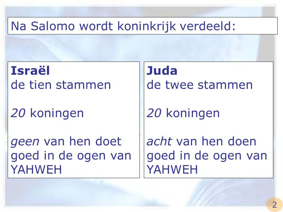 Na Salomo wordt koninkrijk verdeeld: