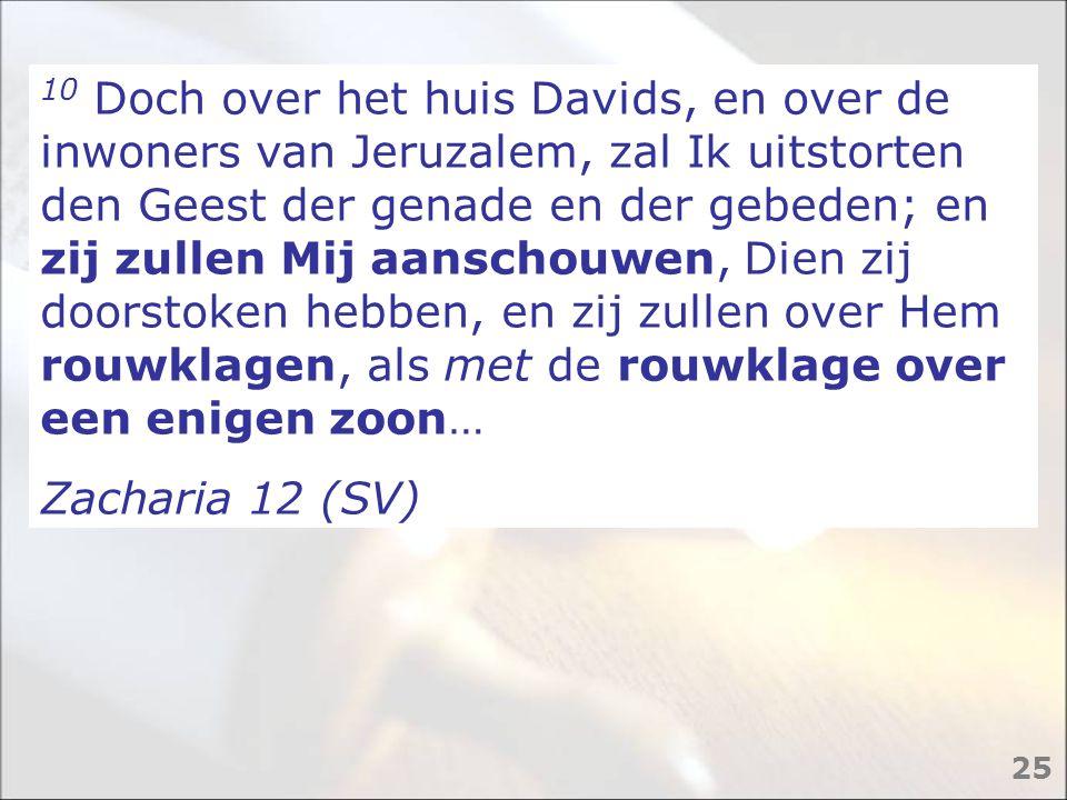 10 Doch over het huis Davids, en over de inwoners van Jeruzalem, zal Ik uitstorten