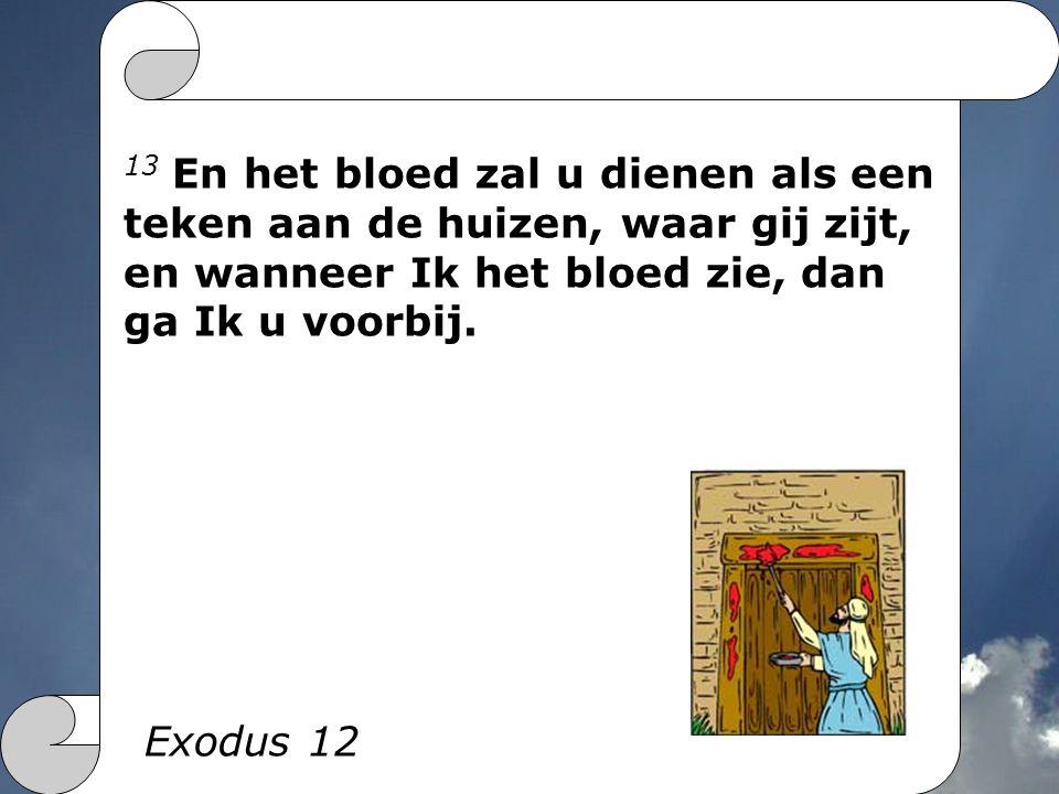 13 En het bloed zal u dienen als een teken aan de huizen, waar gij zijt, en wanneer Ik het bloed zie, dan ga Ik u voorbij.