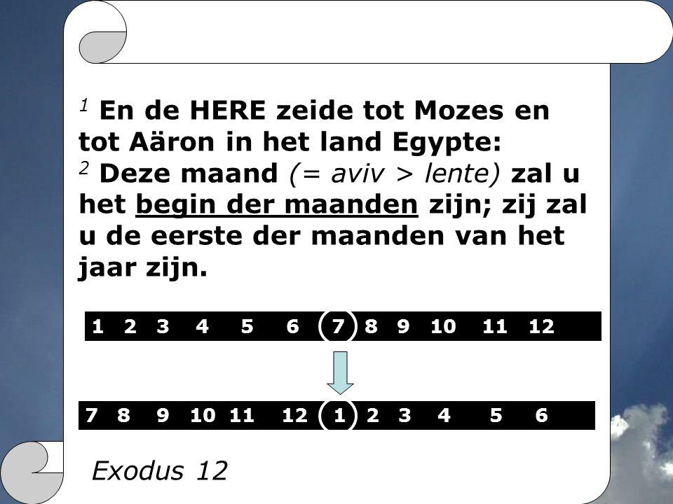 1 En de HERE zeide tot Mozes en tot Aäron in het land Egypte: 2 Deze maand (= aviv > lente) zal u het begin der maanden zijn; zij zal u de eerste der maanden van het jaar zijn.