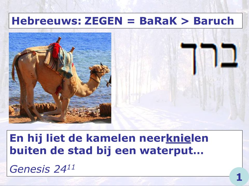 Hebreeuws: ZEGEN = BaRaK > Baruch