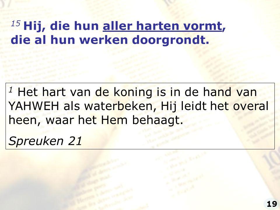 15 Hij, die hun aller harten vormt, die al hun werken doorgrondt.