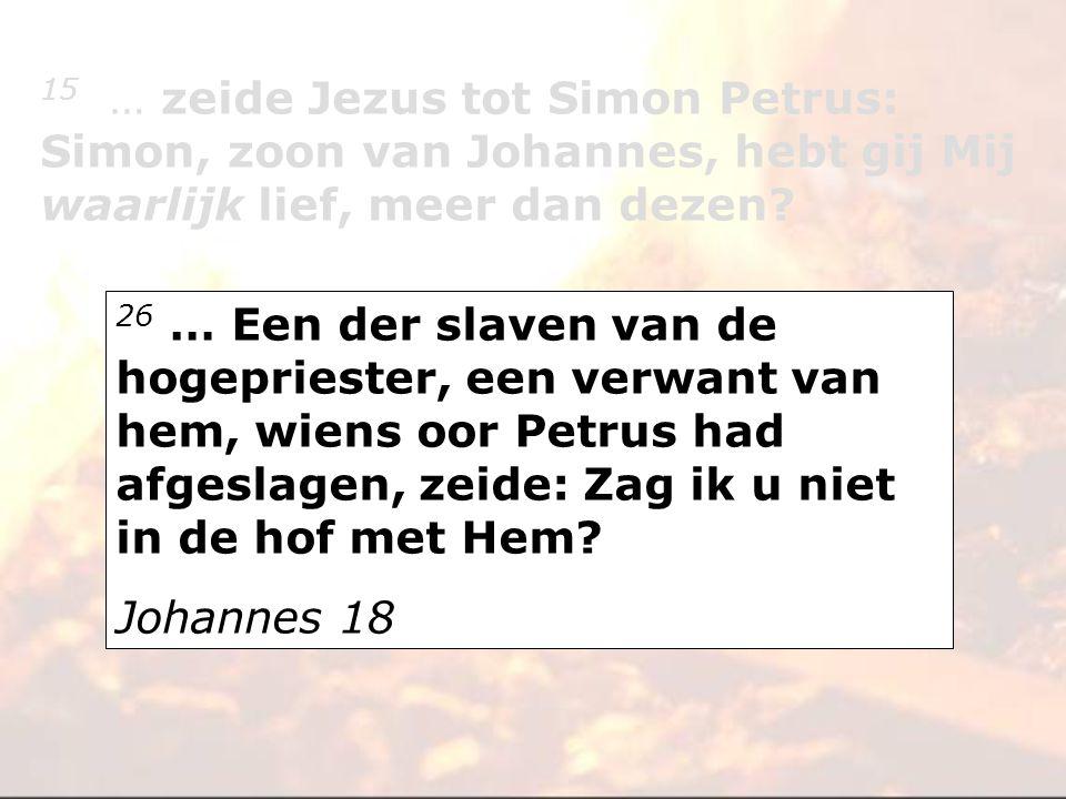 15 … zeide Jezus tot Simon Petrus: Simon, zoon van Johannes, hebt gij Mij waarlijk lief, meer dan dezen