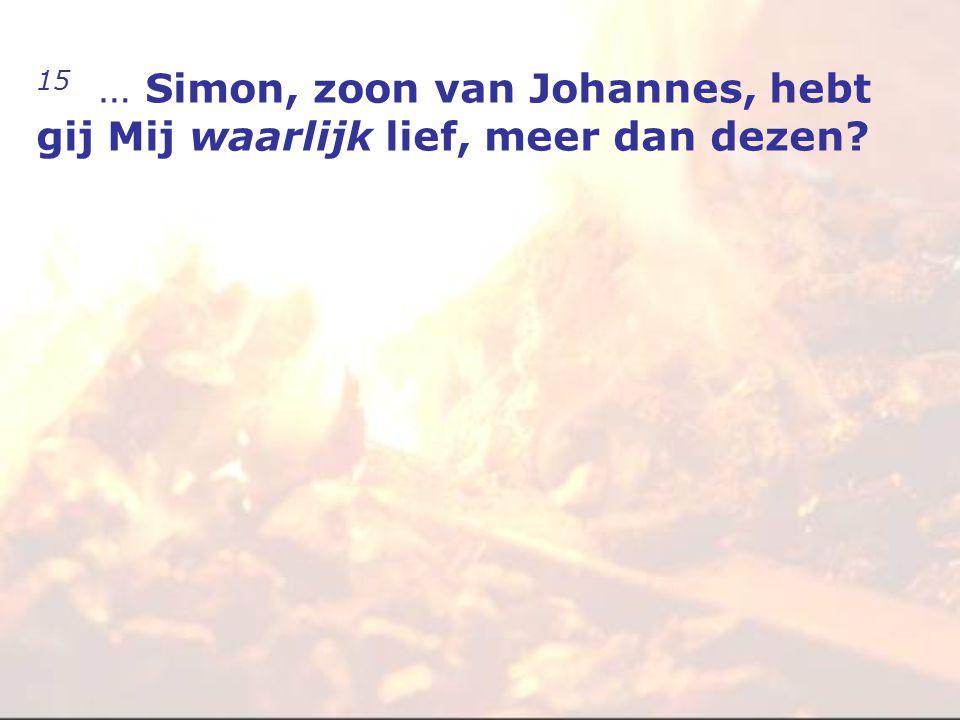 15 … Simon, zoon van Johannes, hebt gij Mij waarlijk lief, meer dan dezen
