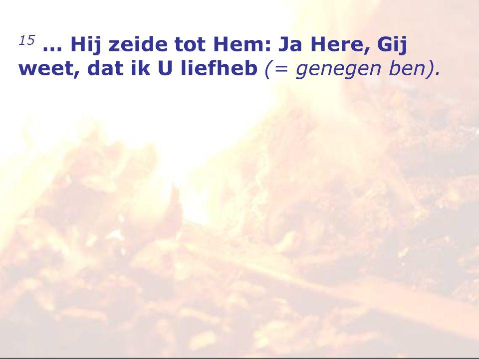 15 … Hij zeide tot Hem: Ja Here, Gij weet, dat ik U liefheb (= genegen ben).