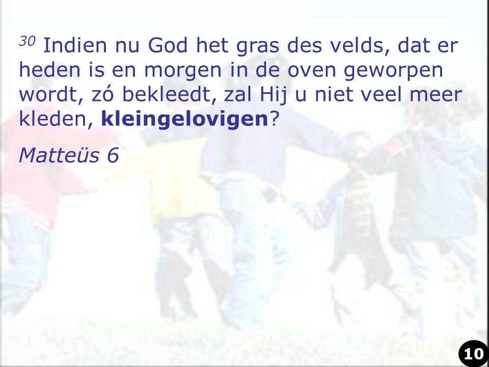 30 Indien nu God het gras des velds, dat er heden is en morgen in de oven geworpen wordt, zó bekleedt, zal Hij u niet veel meer kleden, kleingelovigen