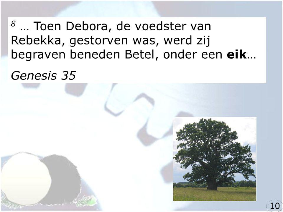 8 … Toen Debora, de voedster van Rebekka, gestorven was, werd zij begraven beneden Betel, onder een eik…