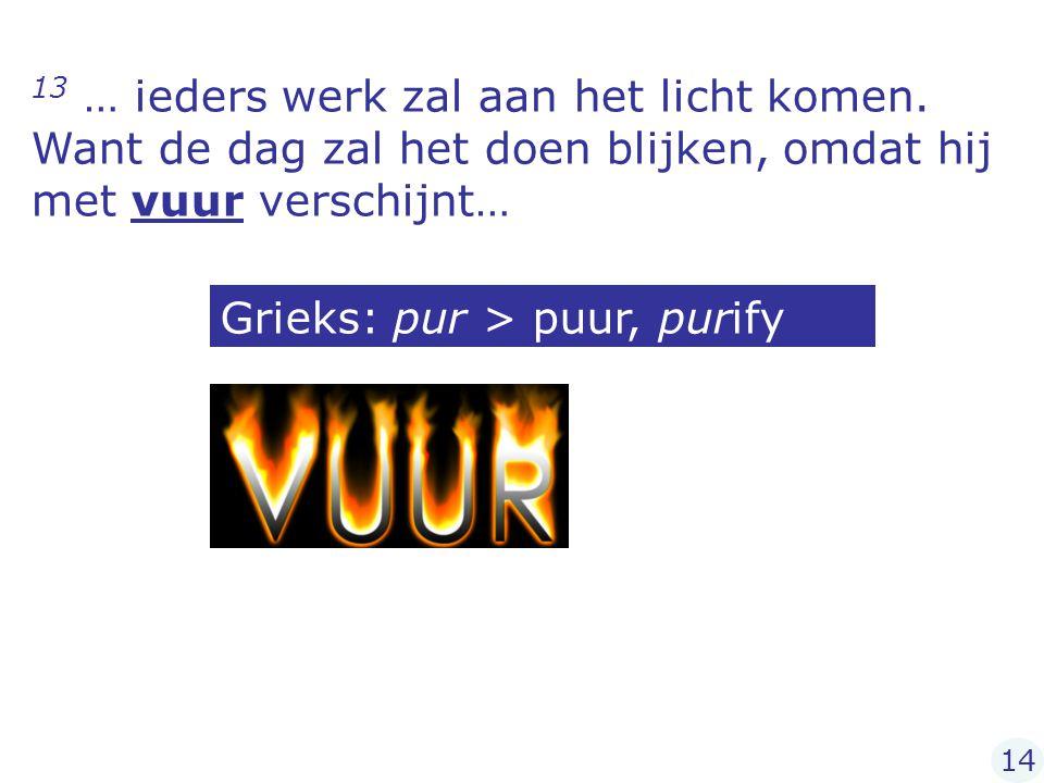 Grieks: pur > puur, purify