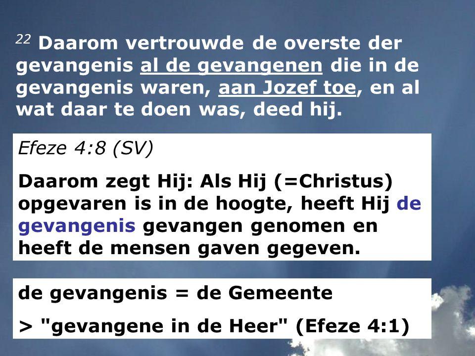 22 Daarom vertrouwde de overste der gevangenis al de gevangenen die in de gevangenis waren, aan Jozef toe, en al wat daar te doen was, deed hij.