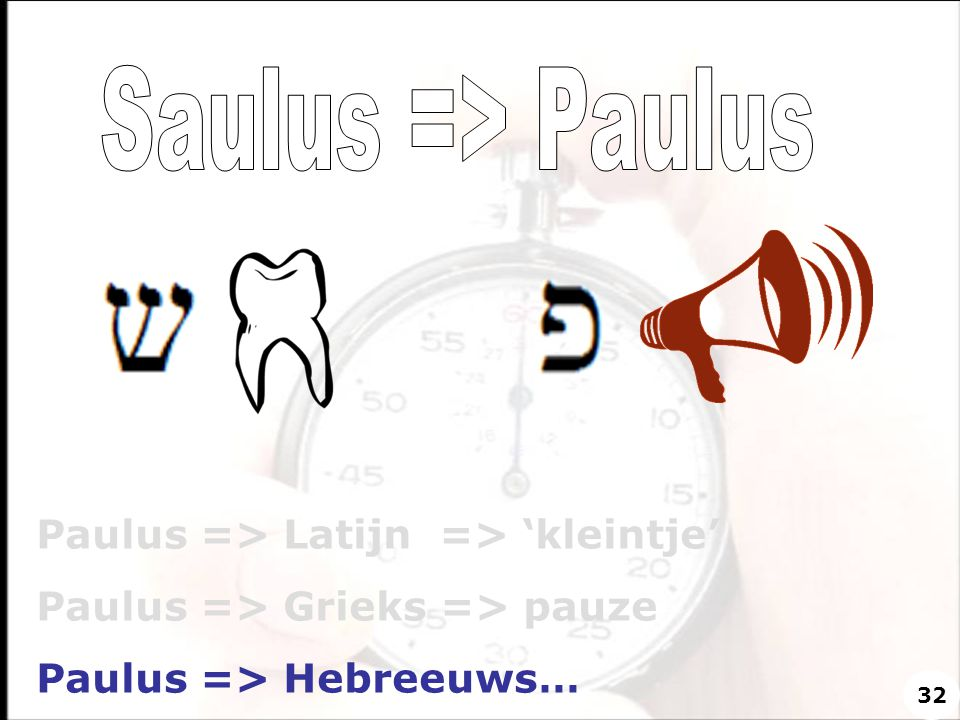 Saulus => Paulus Paulus => Latijn => 'kleintje'