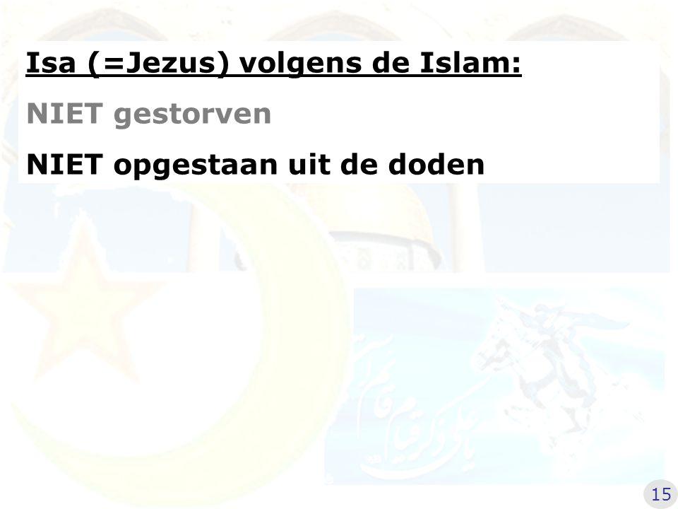 Isa (=Jezus) volgens de Islam: NIET gestorven