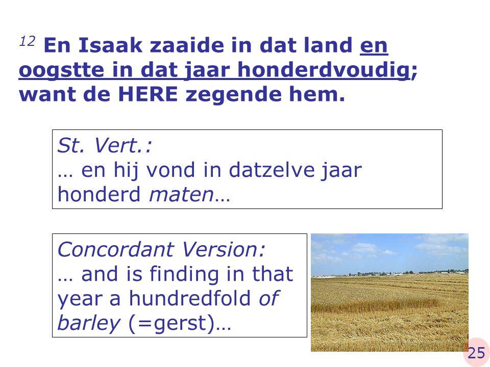 St. Vert.: … en hij vond in datzelve jaar honderd maten…