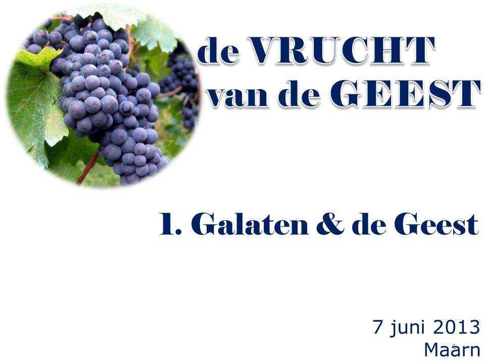 de VRUCHT van de GEEST 1. Galaten & de Geest 7 juni 2013 Maarn