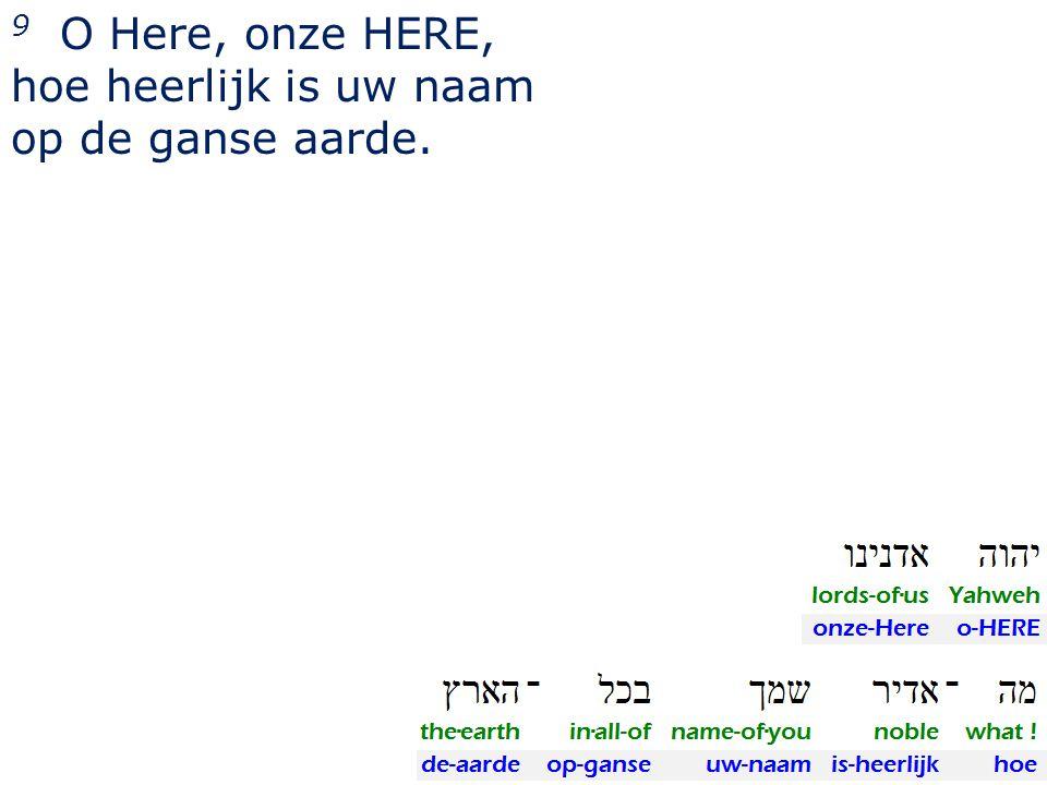 9 O Here, onze HERE, hoe heerlijk is uw naam op de ganse aarde.