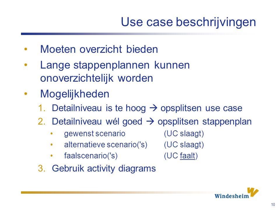 Use case beschrijvingen