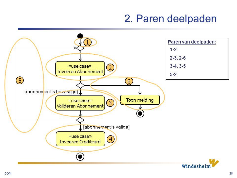 2. Paren deelpaden 1 2 5 6 3 4 Paren van deelpaden: 1-2 2-3, 2-6