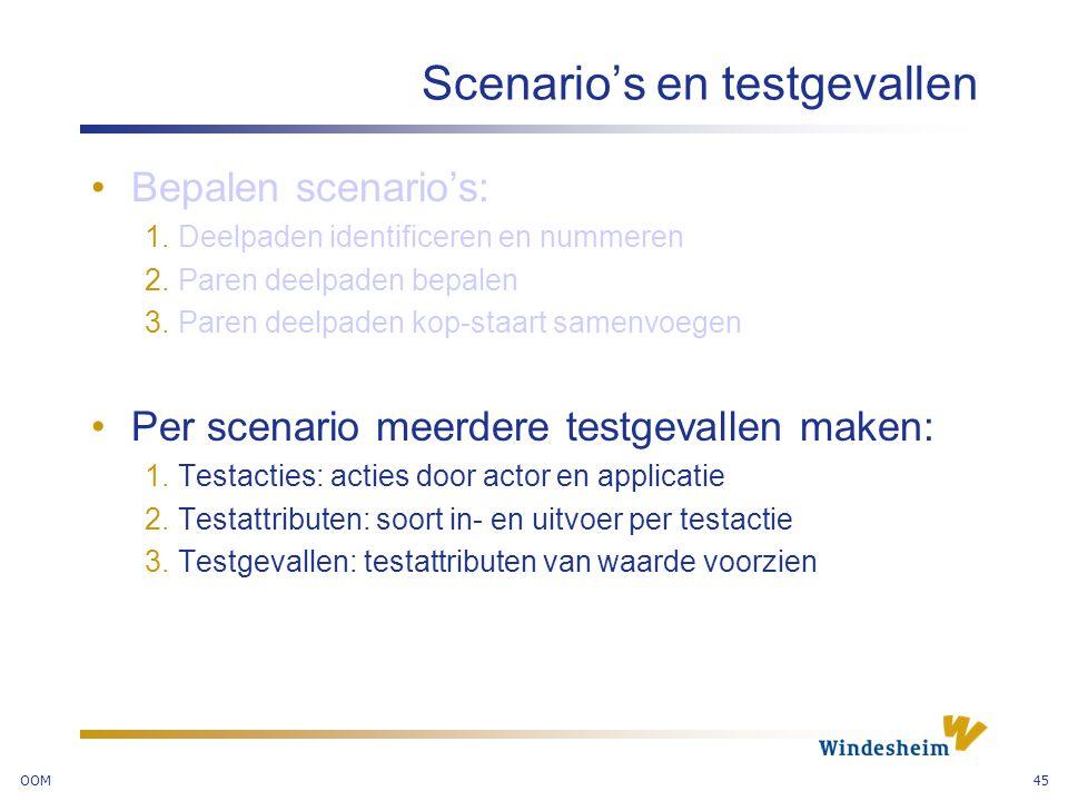 Scenario's en testgevallen