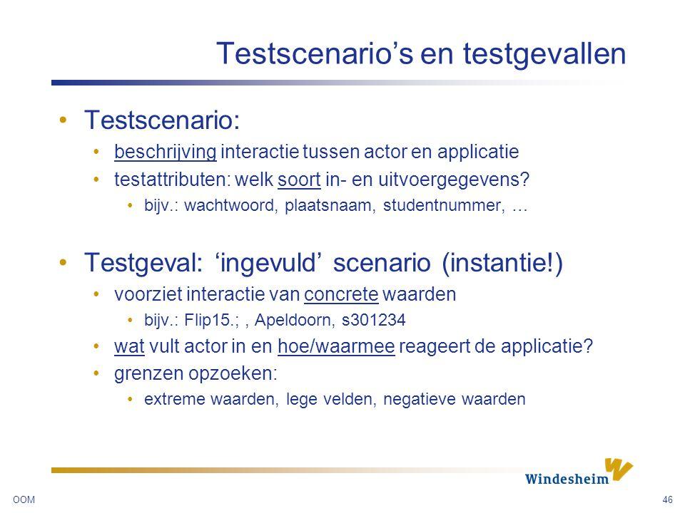 Testscenario's en testgevallen