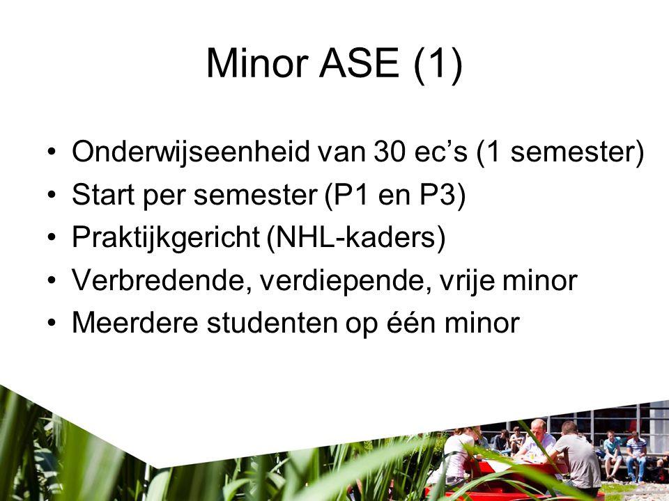 Minor ASE (1) Onderwijseenheid van 30 ec's (1 semester)