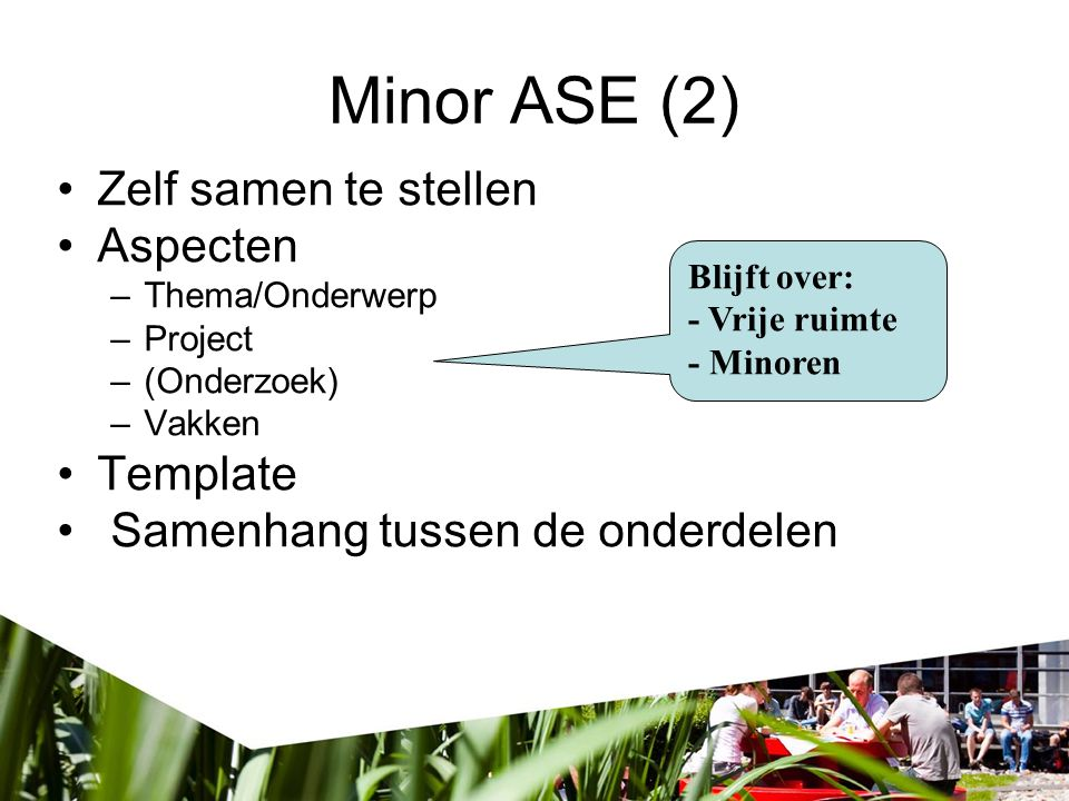 Minor ASE (2) Zelf samen te stellen Aspecten Template