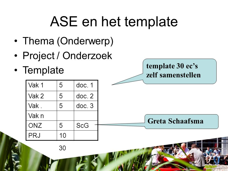 ASE en het template Thema (Onderwerp) Project / Onderzoek Template