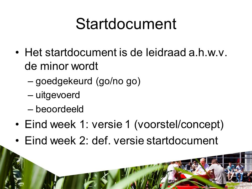 Startdocument Het startdocument is de leidraad a.h.w.v. de minor wordt