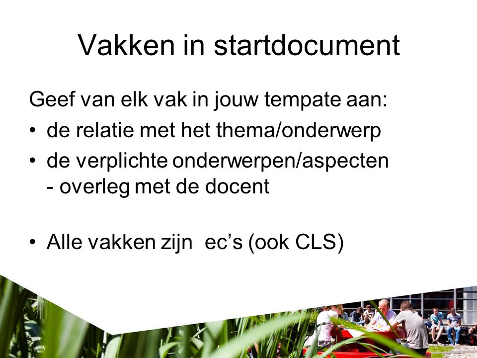 Vakken in startdocument
