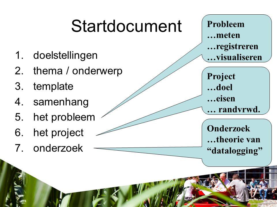 Startdocument doelstellingen thema / onderwerp template samenhang