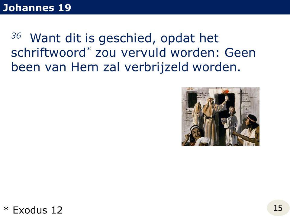 Johannes 19 36 Want dit is geschied, opdat het schriftwoord* zou vervuld worden: Geen been van Hem zal verbrijzeld worden.