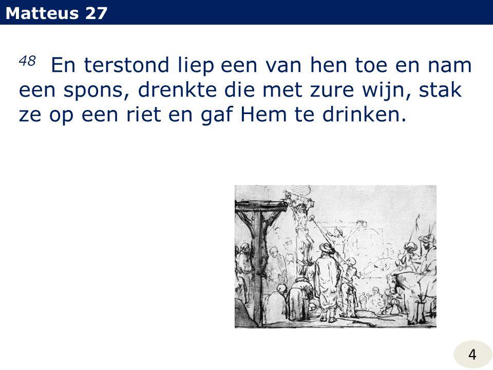 Matteus 27 48 En terstond liep een van hen toe en nam een spons, drenkte die met zure wijn, stak ze op een riet en gaf Hem te drinken.