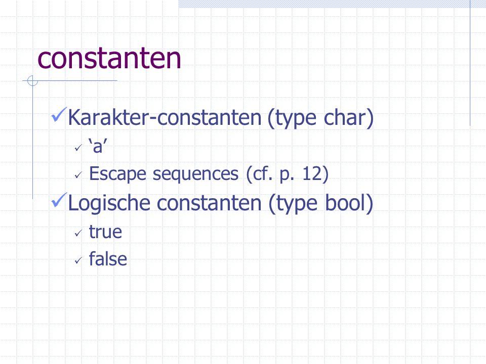 constanten Karakter-constanten (type char)