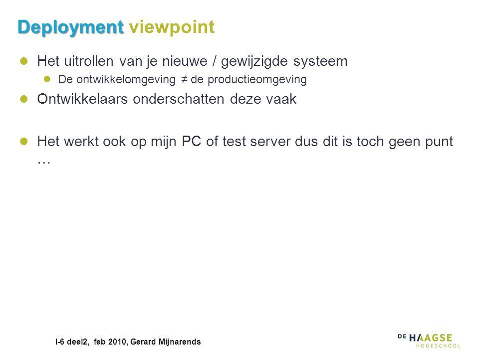 Deployment viewpoint Het uitrollen van je nieuwe / gewijzigde systeem