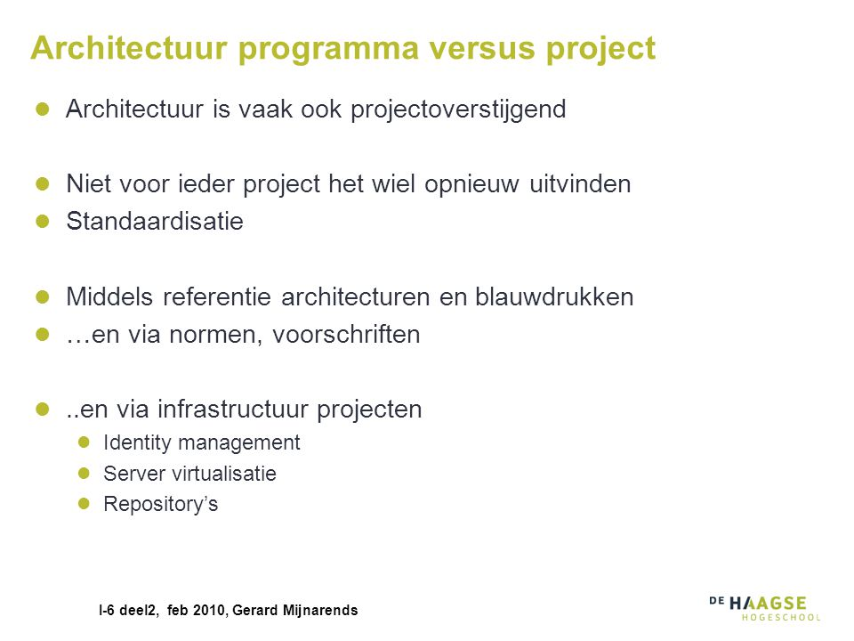 Architectuur programma versus project