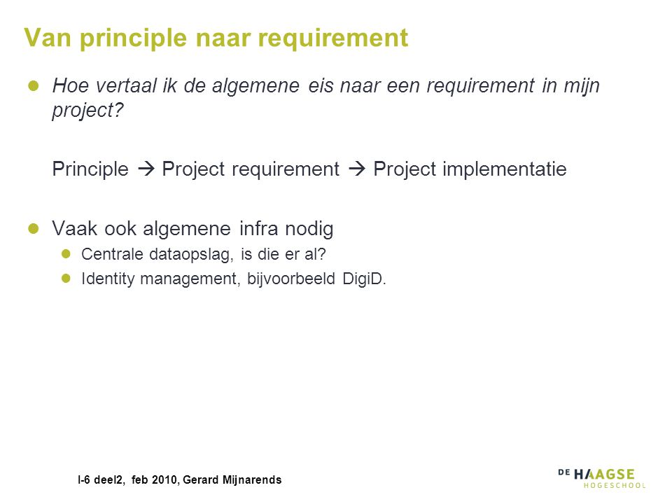 Van principle naar requirement