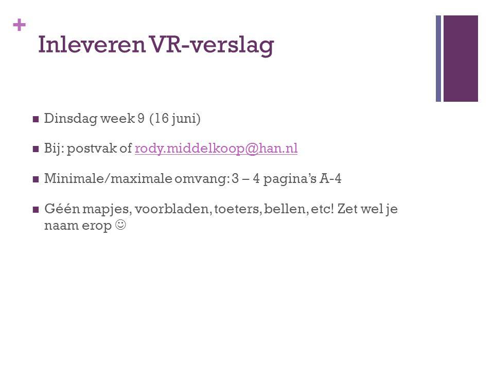Inleveren VR-verslag Dinsdag week 9 (16 juni)
