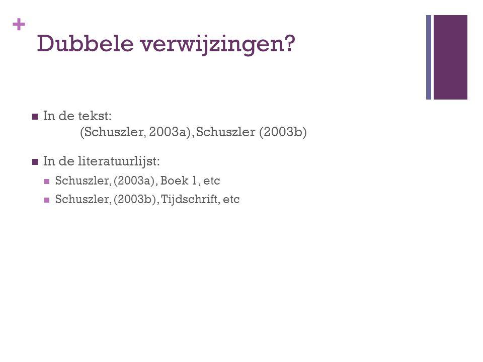 Dubbele verwijzingen In de tekst: (Schuszler, 2003a), Schuszler (2003b) In de literatuurlijst: