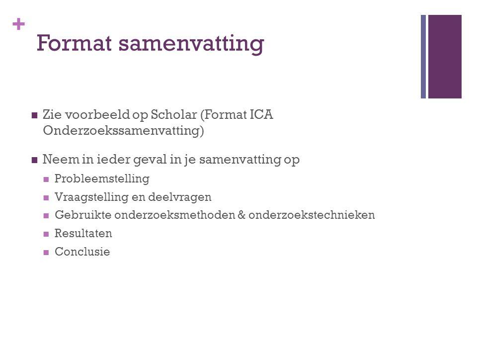 Format samenvatting Zie voorbeeld op Scholar (Format ICA Onderzoekssamenvatting) Neem in ieder geval in je samenvatting op.