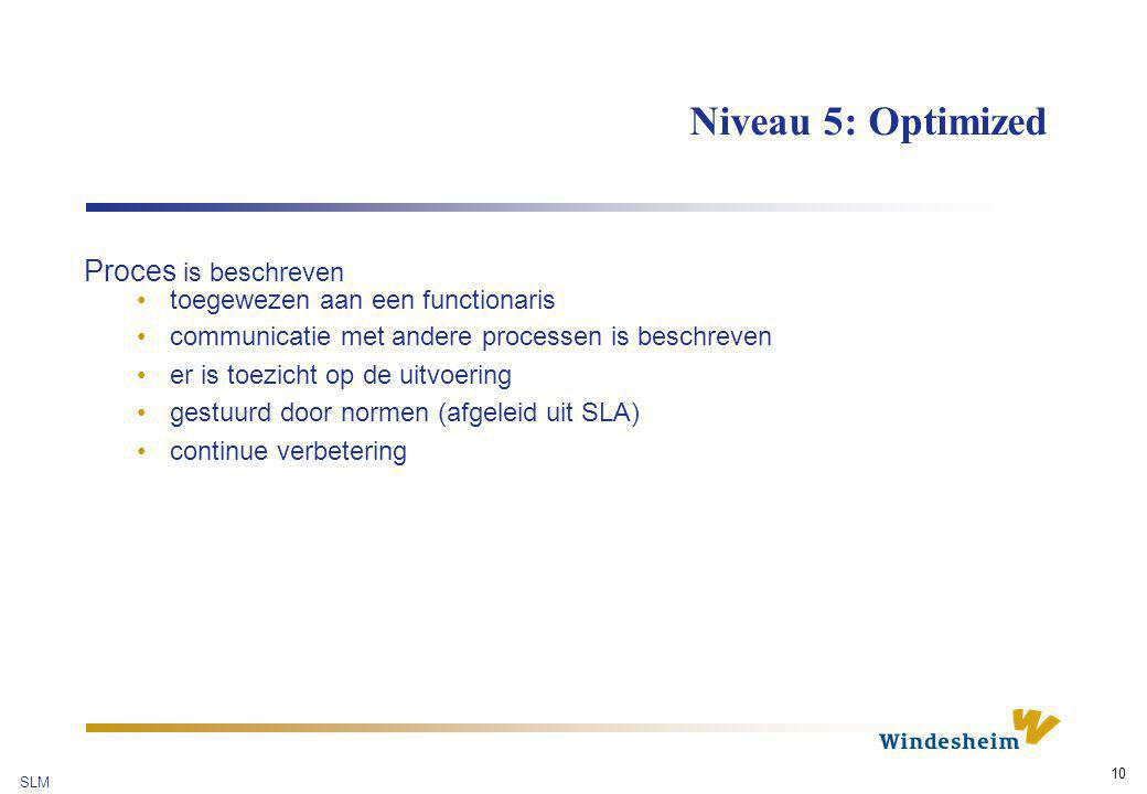 Niveau 5: Optimized Proces is beschreven