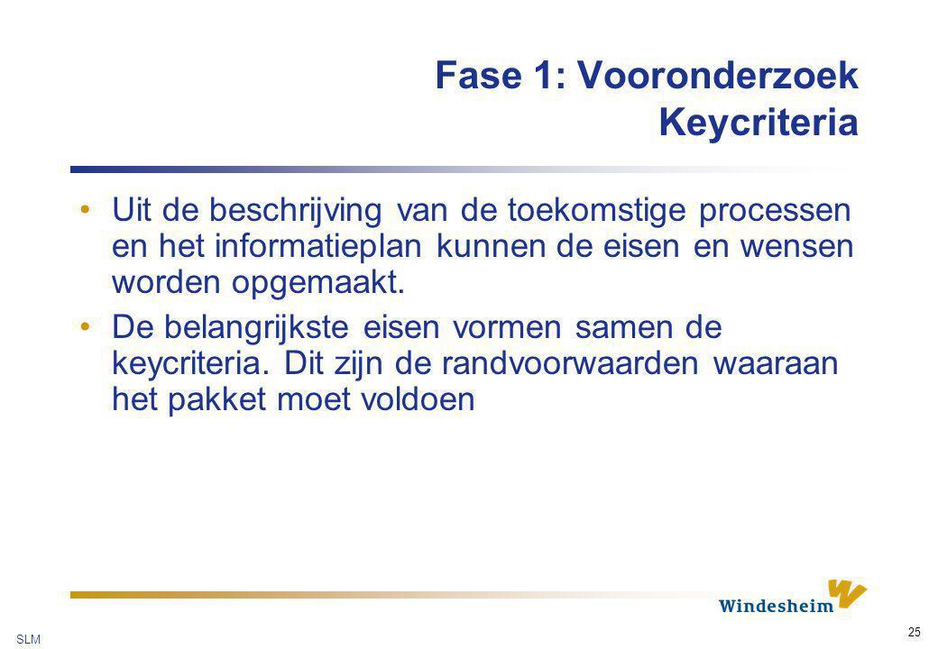 Fase 1: Vooronderzoek Keycriteria