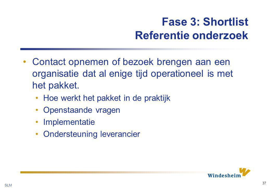 Fase 3: Shortlist Referentie onderzoek