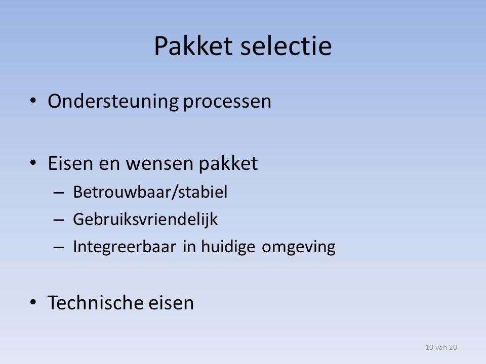 Pakket selectie Ondersteuning processen Eisen en wensen pakket